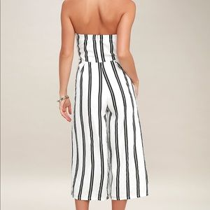 99dc7341369 Lulu s Pants - Lulu s Black and White Strapless Midi Jumpsuit